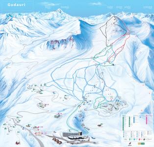 Карта трасс и канатных дорог Гудаури