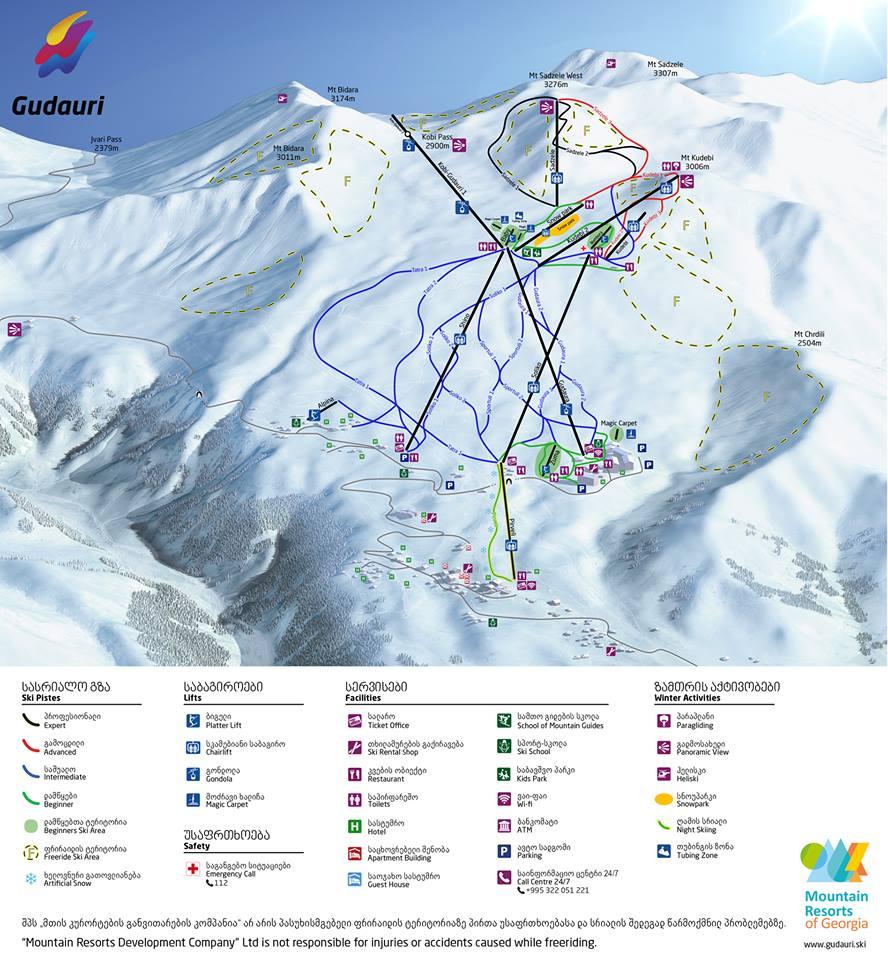 Горнолыжный курорт Гудаури - Карта Горнолыжных Трасс